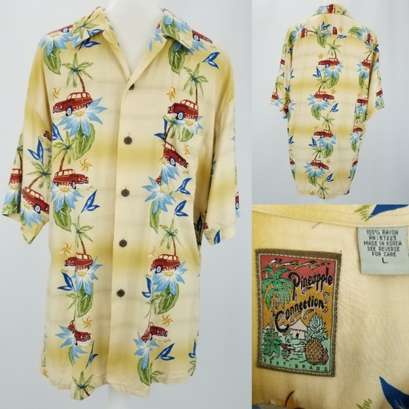 04fb081af Pineapple Connection Shirts | Hawaiian Shirt Wood Buttons L | Poshmark
